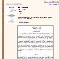 Aristote : Politique (livre I - bilingue)