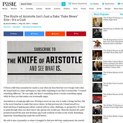 "The Knife of Aristotle Isn't Just a Fake ""Fake News"" Site—It's a Cult"
