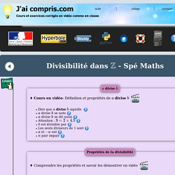 arithmétique - spé Maths - divisibilité dans Z - définition - propriétés - exercice