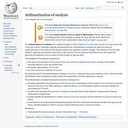Arithmetization of analysis