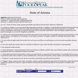 Arizona's Food-Disparagement Law