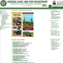 Arizona OHV Trails & OHV Maps OHV Places to Ride and Areas in Arizona