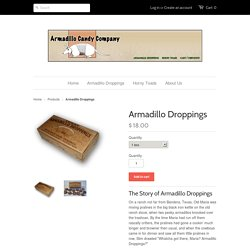 Armadillo droppings, pecan pralines – Armadillo Candy Company