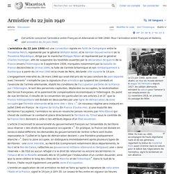 22/06/1940 Armistice avec l'Allemagne