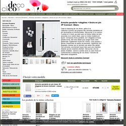 Armoire penderie en pin blanc 3P étagères et tiroirs Connect - creuse
