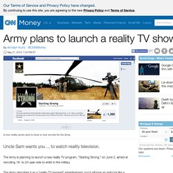 Army plans to launch a reality TV show - May. 21, 2013