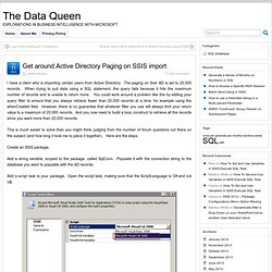 Get around Active Directory Paging on SSIS import