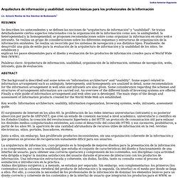 Arquitectura de información y usabilidad: nociones básicas para los profesionales de la información