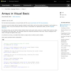 Arrays in Visual Basic