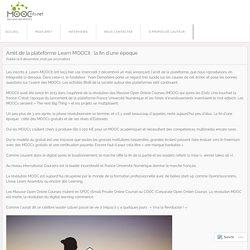 Arrêt de la plateforme Learn MOOCit : la fin d'une époque