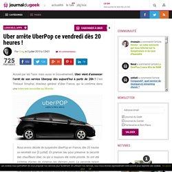 Uber arrête UberPop ce vendredi dès 20 heures !