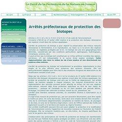 Les arrêtés de protection des biotopes