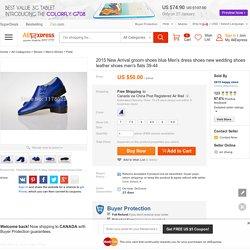 Online Shop 2015 New Arrival groom shoes blue Men's dress shoes new wedding shoes leather shoes men's flats 39-44