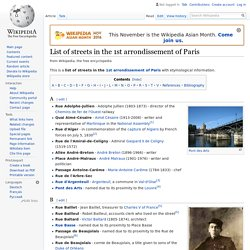 List of streets in the 1st arrondissement of Paris - Wikipedia