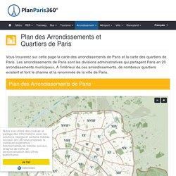 Plan et carte des arrondissements et quartiers de Paris