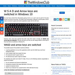W S A D and Arrow keys are switched in Windows 10