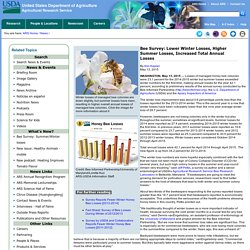 ARS USDA 13/05/15 Bee Survey: Lower Winter Losses, Higher Summer Losses, Increased Total Annual Losses