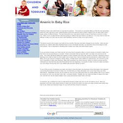CHILDREN AND TODDLERS - DEC 2010 - Arsenic In Baby Rice