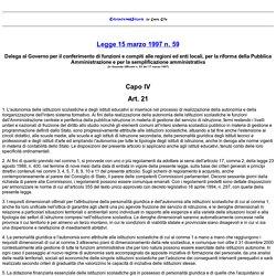 art. 21 - Legge 15 marzo 1997, n. 59