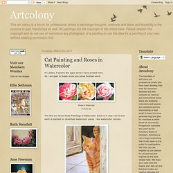 Artcolony - Cat Painting and Roses in Watercolor