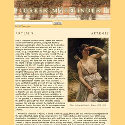 ARTEMIS, Greek Mythology Index