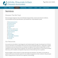 Services - Arthritis, Rheumatic & Back Disease Associates