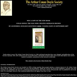 The Arthur Conan Doyle Society Home Page