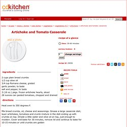 Artichoke and Tomato Casserole Recipe @CDKitchen