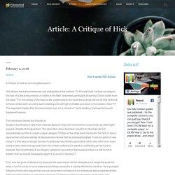 Article: A Critique of Hick