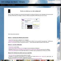 CDI Collège ste Marie - Ornans: Ecrire un article sur un site collaboratif
