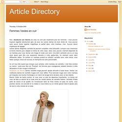 Article Directory: Femmes Vestes en cuir