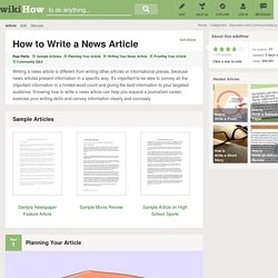 How to Write a News Article (with Downloadable Sample Articles)