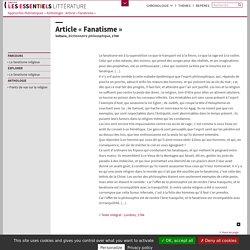Article « Fanatisme »