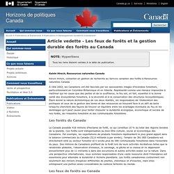 Article vedette - Les feux de forêts et la gestion durable des forêts au Canada