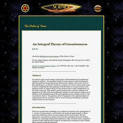 ARTICLE:  An Integral Theory of Consciousness