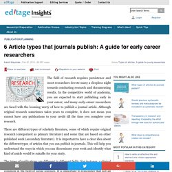 6 Article types that journals publish: A guide for early career researchers