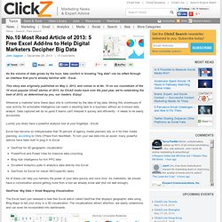 No.10 Most Read Article of 2013: 5 Free Excel Add-Ins to Help Digital Marketers Decipher Big Data