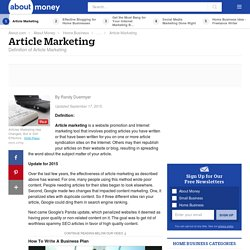 Article Marketing - Definition of Article Marketing