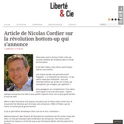 Article de Nicolas Cordier sur la révolution bottom-up qui s'annonce