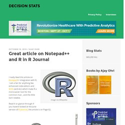 Great article on Notepad++ and R in R Journal