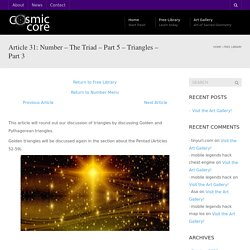 Article 31: Number – The Triad – Part 5 – Triangles – Part 3 - Cosmic Core