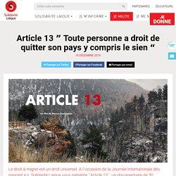 """Film """"Article 13"""" sur le droit à migrer - Solidarité Laïque"""