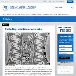 Arts Law : Article : Photo Reproduction of Artworks