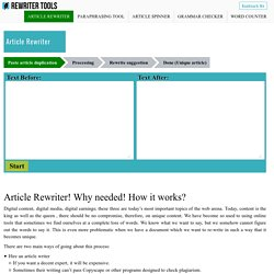 Article Rewriter Tool