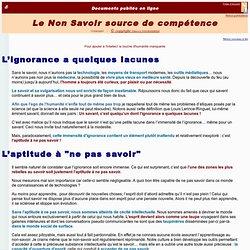 ARTICLE : Le Non Savoir source de compétences