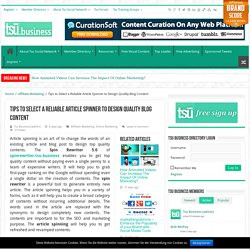 Tips to Use Article Spinner to Design Blog Content