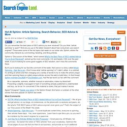 Hot At Sphinn: Article Spinning, Search Behavior, SEO Advice & More