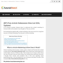 80+ Free Article Submission Sites List 2016 - Updated