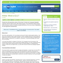 Article: What is CLIL?