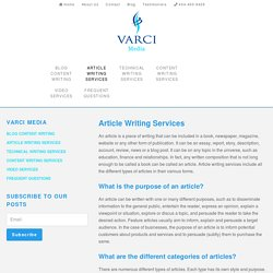 Article Writing Services - Varci Media
